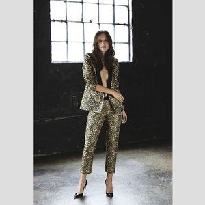 WE ARE KINDRED Metallic Brocade Ankle Dress Pants